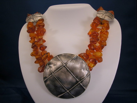 Amber and Fold Formed Sliver Medallion Necklace