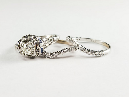 White gold and diamond shadow wedding bands