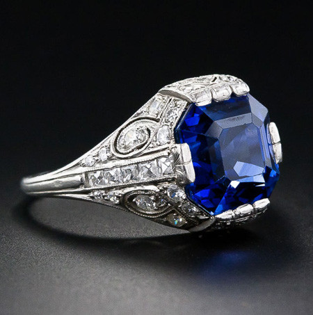 Blue Sapphire Art Deco Ring