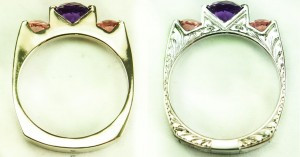 Hand Engraving Before and After: White Gold and Amethyst 3-stone Ring