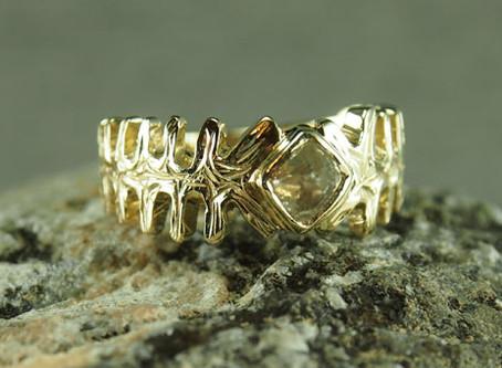 Raw Diamond Free Form Engagement Ring