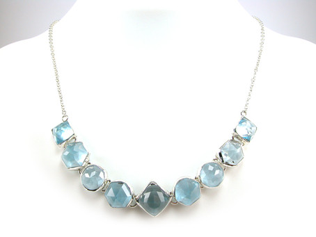 Custom Cut Blue Topaz and Silver Hinged Necklace