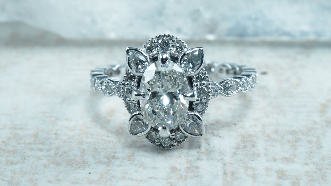 White Gold Oval Burst Engagement Ring