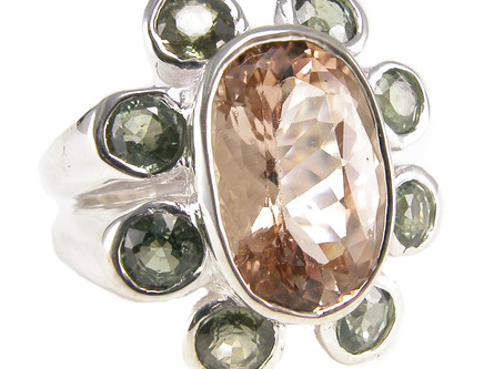 Green Sapphire and Imperial Topaz Ring
