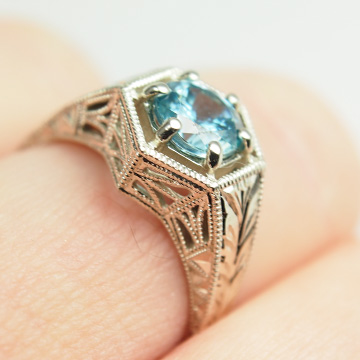 Engraved White Gold Aquamarine Ring