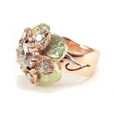 Green gold flower statement ring