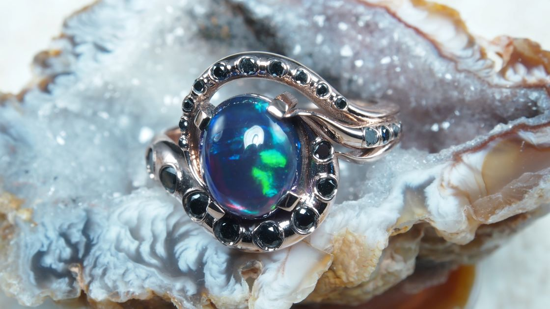 Rose Gold Tentacle Opal Ring