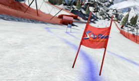 Virtual Reality branding for Events: slalom gates on ski slopes