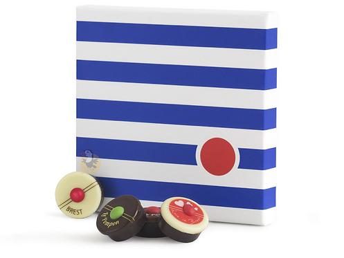 Pompon de Brest Boîte Marinière de 25 pompons 经典海军条纹巧克力方形礼盒25个装