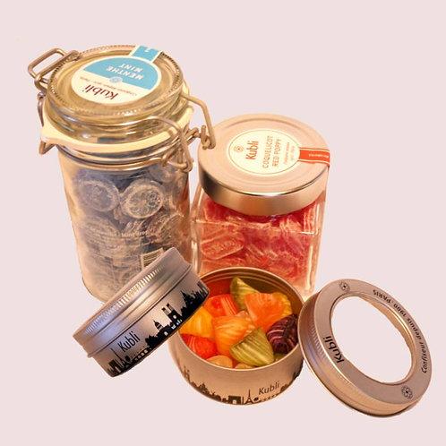 Kubli COFFRET DECOUVERTE 酷酷林手工糖果尽享礼盒装 长玻璃罐装&方玻璃罐装&巴黎铁盒装2个