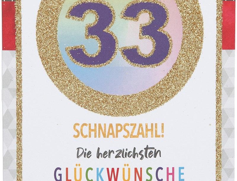 Glückwunschkarte zum 33. Geburtstag