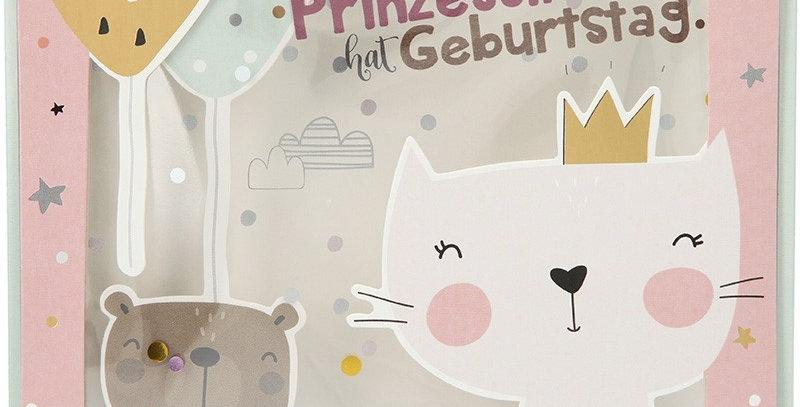 Konfetticard: Eine kleine Prinzessin hat Geburtstag.