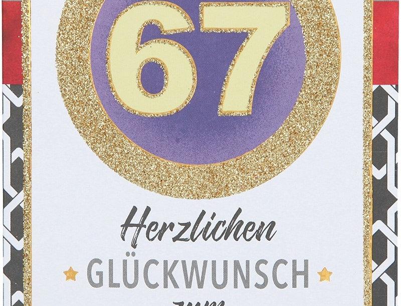Glückwunschkarte zum 67. Geburtstag