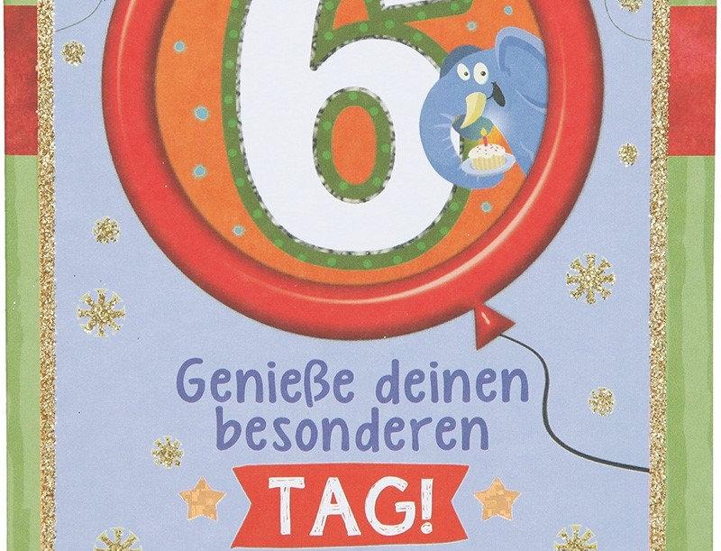Glückwunschkarte zum 6. Geburtstag