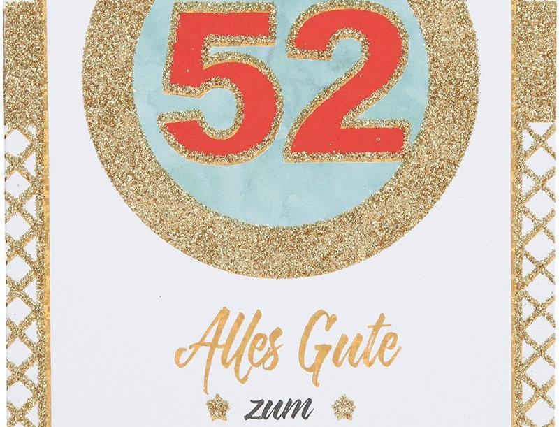 Glückwunschkarte zum 52. Geburtstag