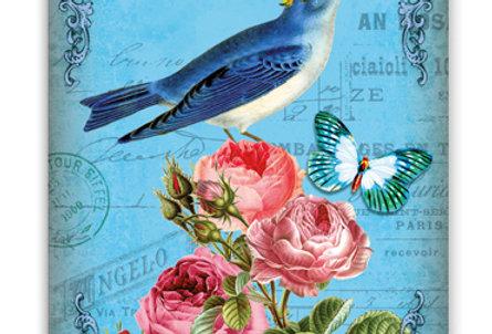 Geburtstagskarte Vogel auf Rosen
