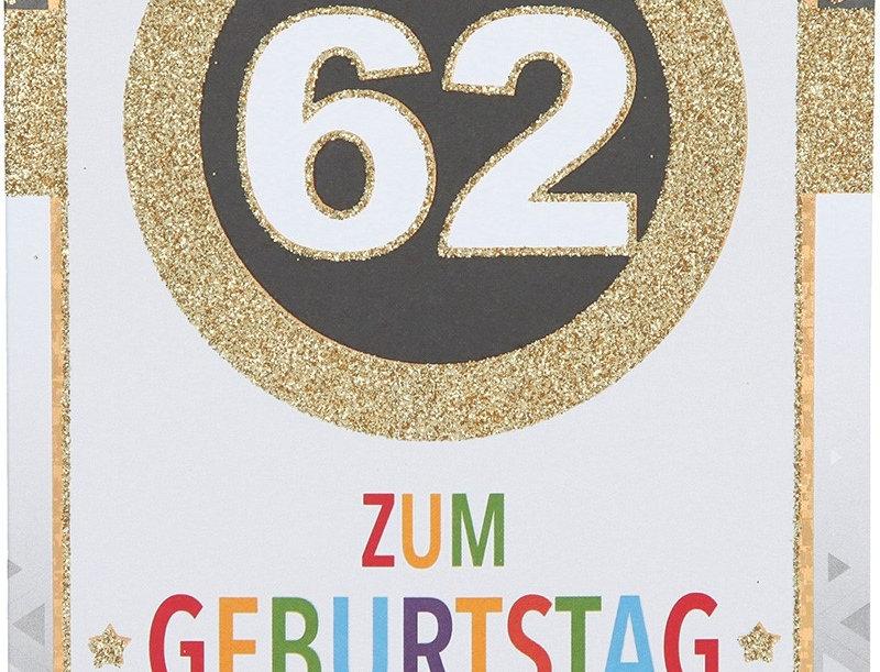 Glückwunschkarte zum 62. Geburtstag