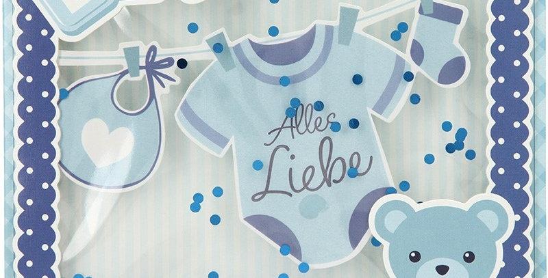Konfetticard: Baby - Alles Liebe zur Geburt (blau)