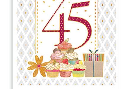 Glückwunschkarte zum 45. Geburtstag