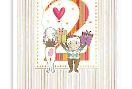 Glückwunschkarte zum 2. Geburtstag