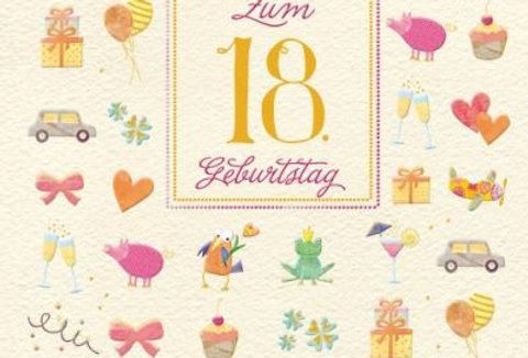 Glückwunschkarte zum 18. Geburtstag
