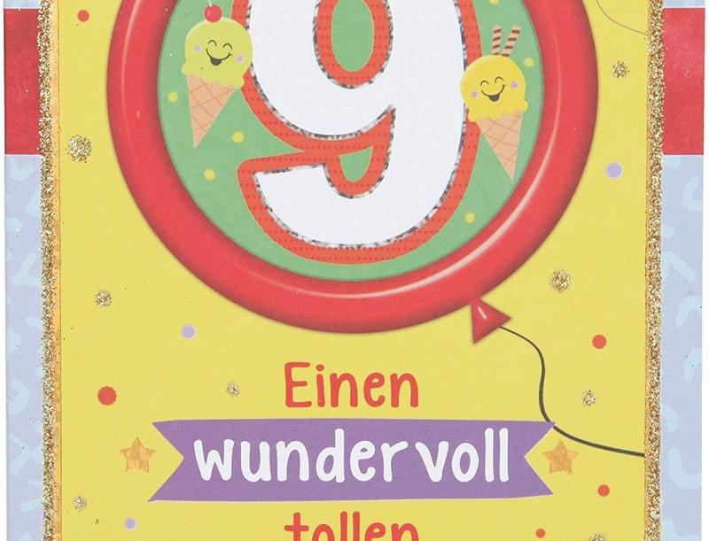 Glückwunschkarte zum 9. Geburtstag