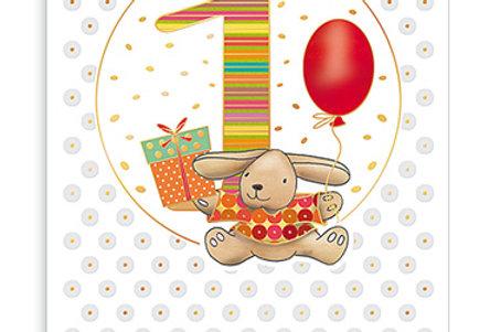 Glückwunschkarte zum 1. Geburtstag