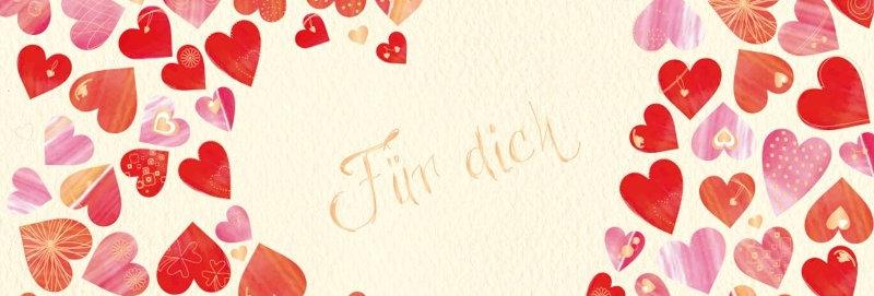 """Glückwunschkarte """"Für dich"""" mit Herzen"""