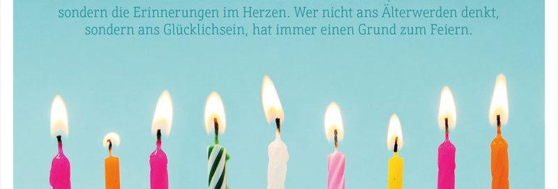 Geburtstagskarte mit Kerzen und Spruch