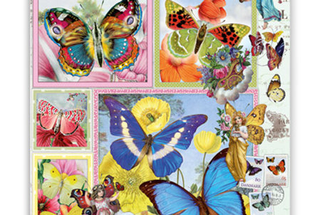 Geburtstagskarte Schmetterlingsgarten