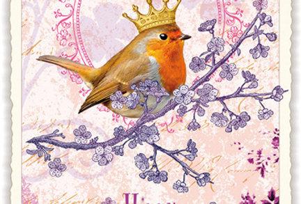 """Postkarte Happy Birthday """"Zaunkönig"""""""