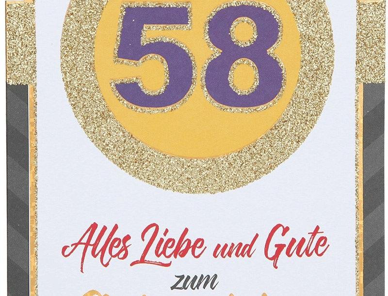 Glückwunschkarte zum 58. Geburtstag