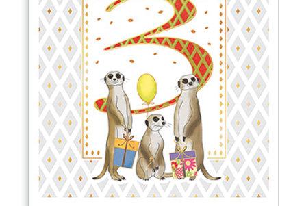 Glückwunschkarte zum 3. Geburtstag
