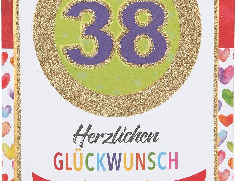Glückwunschkarte zum 38. Geburtstag
