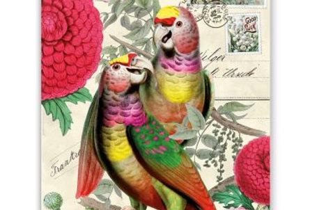Glückwunschkarte Vogelpaar bunt