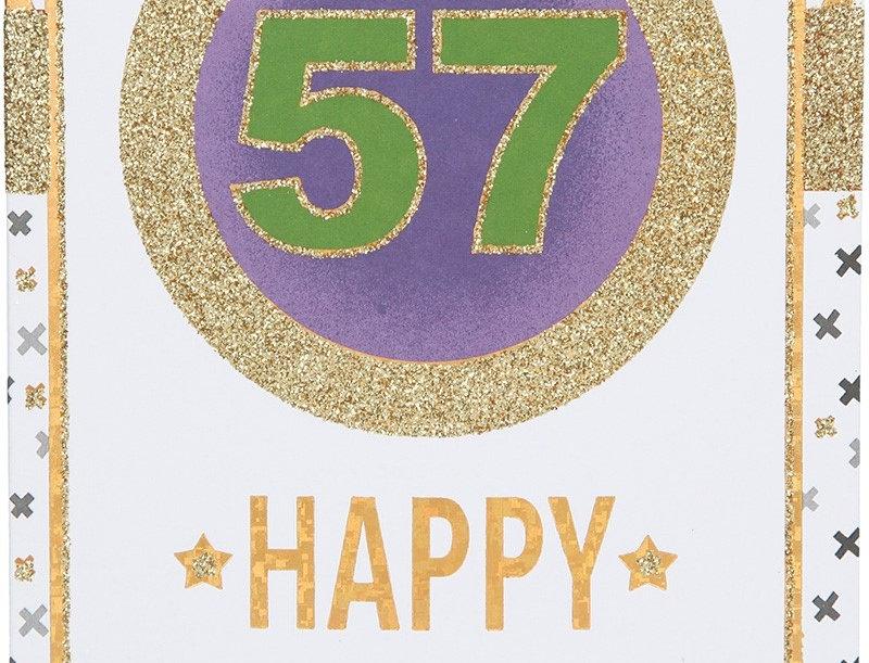 Glückwunschkarte zum 57. Geburtstag