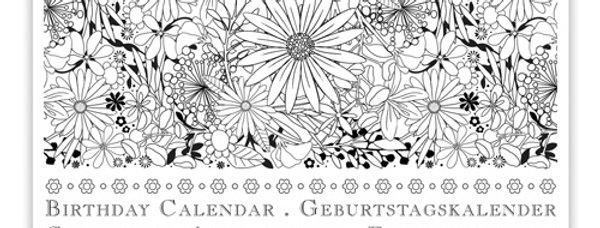 Geburtstagskalender Design: Motiv zum Ausmahlen