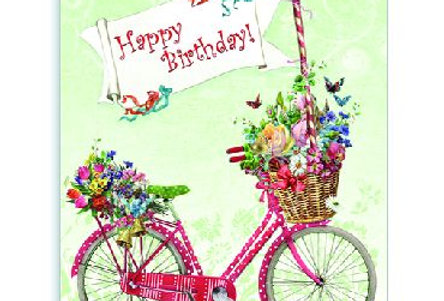 Geburtstagskarte mit Fahrrad und Dackel