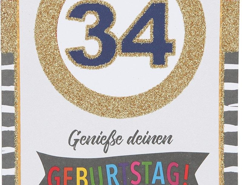 Glückwunschkarte zum 34. Geburtstag