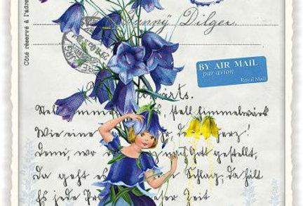Postkarte Mädchen in blau