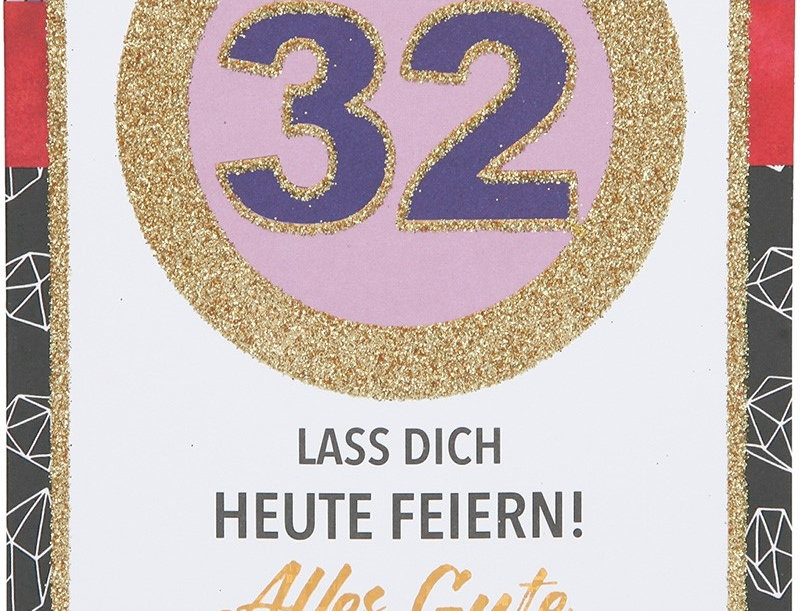 Glückwunschkarte zum 32. Geburtstag