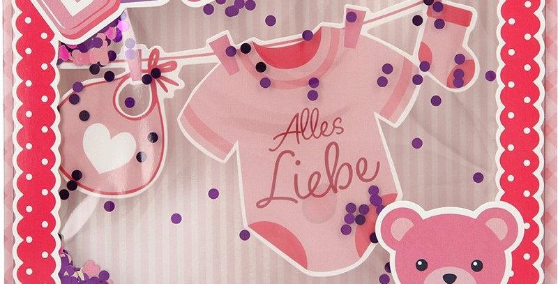 Konfetticard: Baby - Alles Liebe zur Geburt (rosa)