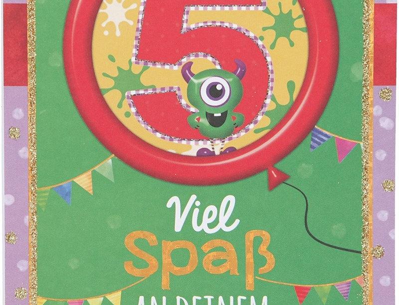 Glückwunschkarte zum 5. Geburtstag