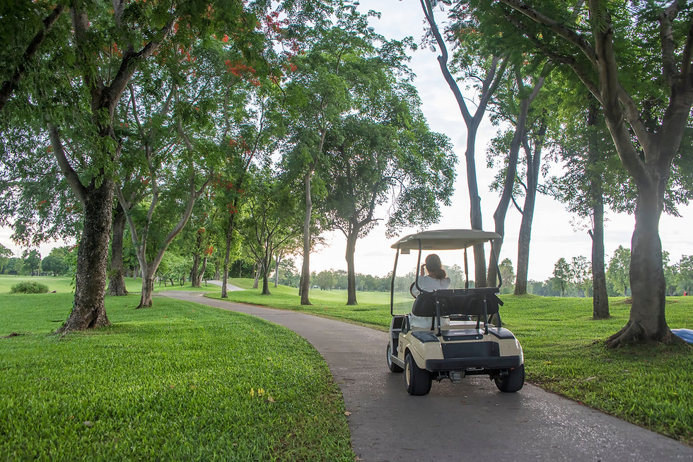 Golf cart or car on golf course. Looking
