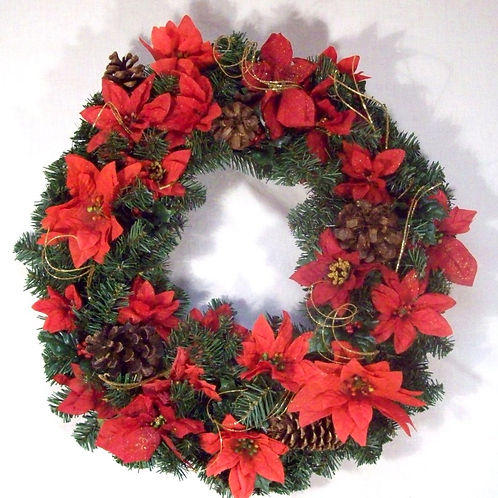 Poinsettias and Pine Cones
