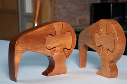 Kiwi Jigsaw varnished Rimu an Mahogany