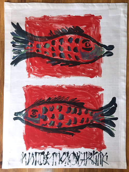 two fish white tea towel