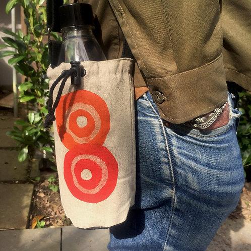Red and Orange Target  Hemp Bottle Bag