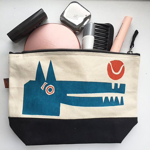Blue Dog Dipped Canvas Bag