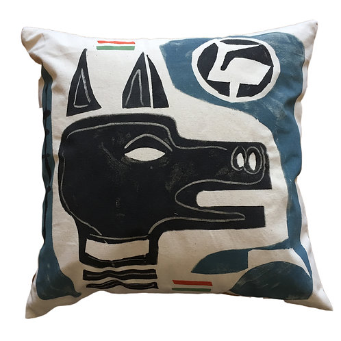 Aztec Dog - Canvas Cushion